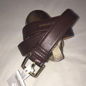 NWT Michael Kors Dark Brown Genuine Leather Belt